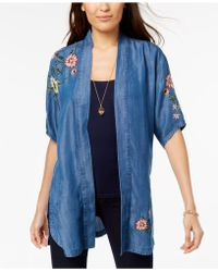 Style & Co. - Chambray Embroidered Kimono, Created For Macy's - Lyst