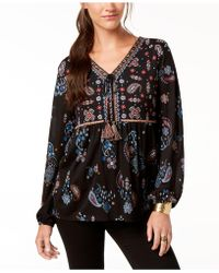 Style & Co. - Printed Flare-sleeve Top, Created For Macy's - Lyst