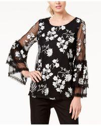 76b14657d7a Alfani - Petite Embroidered Ruffle Sleeve Top