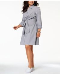 Soprano - Trendy Plus Size Cotton Tie-waist Shirtdress - Lyst