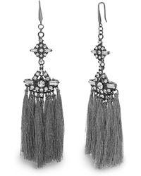 Steve Madden Tassel Drop Black-tone Earrings