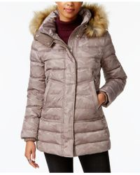 Vince Camuto - Faux-fur-trimmed Hooded Quilted Puffer Coat - Lyst