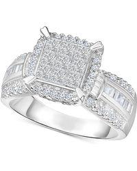 Macy's - Diamond Multi-shaped Stone Bridal Ring (1 Ct. T.w.) In 14k White Gold - Lyst