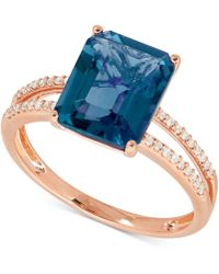 Macy's - Blue Topaz (4 Ct. T.w.) And Diamond (1/10 Ct. T.w.) Ring In 14k Rose Gold - Lyst