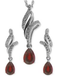 Macy's - Ruby (1 Ct. T.w.) And White Topaz (3/8 Ct. T.w.) Jewelry Set In Sterling Silver - Lyst