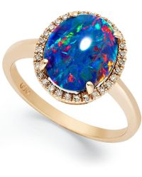Macy's 14k Rose Gold Ring, Opal Triplet And Diamond (1/10 Ct. T.w.) Oval-shaped Ring - Blue