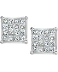 Macy's - Diamond Quad Earrings (3/4 Ct. T.w.) In 10k White Gold - Lyst