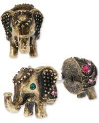 Betsey Johnson - Brass-tone Elephant Front-back Stud Earrings - Lyst