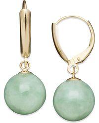 Macy's - 14k Gold Earrings, Jade Bead Drop Earrings - Lyst