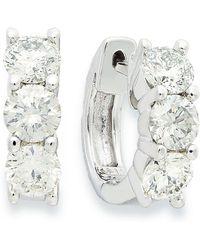 Macy's - Diamond Hoop Earrings In 14k White Gold (1-1/2 Ct. T.w.) - Lyst