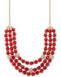 "Nine West - Gold-tone Pavé Ball & Bead Triple-row Collar Necklace, 16"" + 2"" Extender - Lyst"