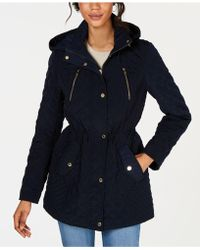 Laundry by Shelli Segal - Hooded Quilted Coat - Lyst