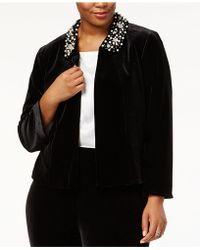 Tahari - Plus Size Beaded-collar Cropped Jacket - Lyst