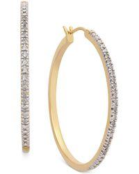 Macy's - Diamond Hoop Earrings (1/4 Ct. T.w.) In 14k Gold-plated Sterling Silver - Lyst