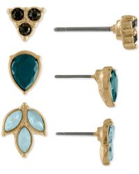 RACHEL Rachel Roy - Gold-tone 3-pc. Set Multi-stone Leaf Stud Earrings - Lyst