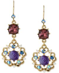 Betsey Johnson - Antique Gold-tone Flower Medallion Crystal Drop Earrings - Lyst