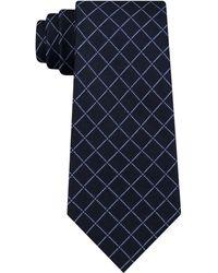 DKNY - Electric Grid Check Slim Silk Tie - Lyst