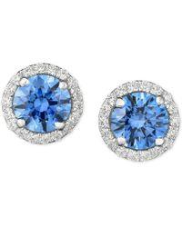 Arabella - Swarovski Zirconia Halo Stud Earrings In Sterling Silver - Lyst