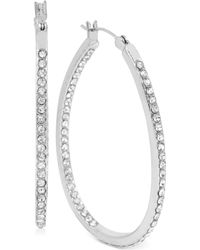 Touch Of Silver | Medium Oval Crystal Hoop Earrings In Silver-plated Brass | Lyst