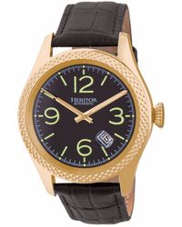 Heritor - Automatic Barnes Gold & Black Leather Watches 44mm - Lyst