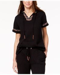 Style & Co. - Embroidered Short-sleeve Sweatshirt, Created For Macy's - Lyst