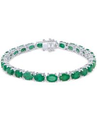 Macy's - Emerald Tennis Bracelet (20 Ct. T.w.) In Sterling Silver - Lyst