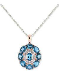 Macy's - London Blue Topaz (4-1/2 Ct. T.w.) & Diamond (1/8 Ct. T.w.) Pendant Necklace In 14k Rose Gold - Lyst