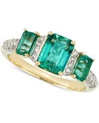 Rare Featuring Gemfields - Certified Emerald (1-7/10 Ct. T.w.) And Diamond (1/5 Ct. T.w.) Ring In 14k Gold - Lyst