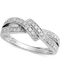 Macy's - Diamond Crossover Ring In Sterling Silver (1/4 Ct. T.w.) - Lyst