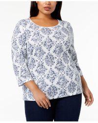 9006e109be5d9 Lyst - Karen Scott Plus Size Cotton Printed Blouse