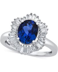 Macy's - Lab-created Blue Sapphire (1-7/8 Ct. T.w.) And White Sapphire (3/4 Ct. T.w.) Ring In Sterling Silver - Lyst