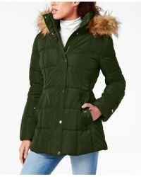 9c88eedc7d3c8 Tommy Hilfiger - Petite Faux-fur-trim Hooded Puffer Coat - Lyst