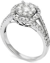 Macy's | Diamond Double Halo Cluster Engagement Ring (7/8 Ct. T.w.) In 14k White Gold | Lyst