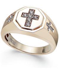 Macy's - Men's Diamond Cross Ring (1/5 Ct. T.w.) In 10k Gold - Lyst
