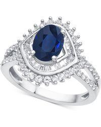 Macy's - Sapphire (1-1/3 Ct. T.w.) & Diamond (3/4 Ct. T.w.) Ring In 14k White Gold - Lyst
