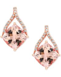 Effy Collection | Morganite (2-2/3 Ct. T.w.) And Diamond (1/8 Ct. T.w.) Drop Earrings In 14k Rose Gold | Lyst