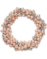 Charter Club | Silver-tone Imitation Pink Pearl And Crystal Cluster Stretch Bracelet | Lyst