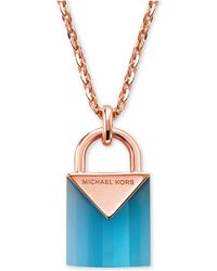 Michael Kors - 14k Rose Gold-plated Sterling Silver Lock Necklace - Lyst