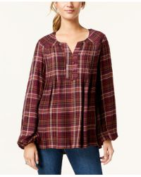 Style & Co. - Petite Plaid Peasant Top, Created For Macy's - Lyst