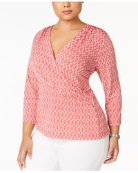 Charter Club - Plus Size Printed Surplice-neck Top - Lyst