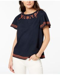 Tommy Hilfiger - Cotton Embroidered Top, Created For Macy's - Lyst