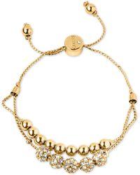 Guess - Gold-tone Pavé Beaded Double-row Slider Bracelet - Lyst