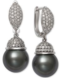Macy's | Cultured Tahitian Black Pearl (9mm) And Diamond (5/8 Ct. T.w.) Drop Earrings In 14k White Gold | Lyst