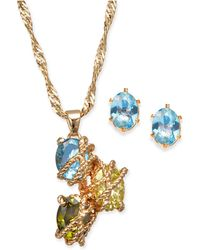 Charter Club - Gold-tone Multi-stone Wrapped Pendant Necklace & Stud Earrings Set - Lyst