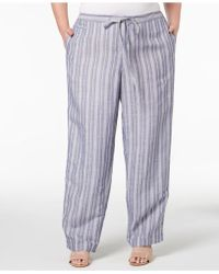 Anne Klein - Plus Size Striped Drawstring Pants - Lyst