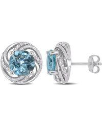 Macy's - Blue Topaz (4-3/4 Ct. T.w.) And White Topaz (1/4 Ct.t.w.) Swirl Halo Stud Earrings In Sterling Silver - Lyst