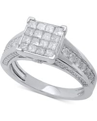 Macy's - Diamond Princess Cluster Engagement Ring (1-1/2 Ct. T.w.) In 14k White Gold - Lyst