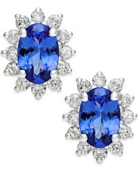 Macy's - Tanzanite (7/8 Ct. T.w.) And Diamond (1/2 Ct. T.w.) Stud Earrings In 14k White Gold - Lyst