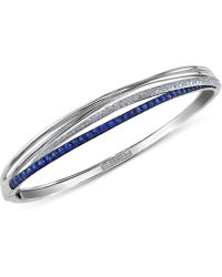 Effy Collection - Royal Bleu By Effy Sapphire (1-1/10 Ct. T.w.) And Diamond (1/3 Ct. T.w.) Bangle Bracelet In 14k White Gold, Created For Macy's - Lyst