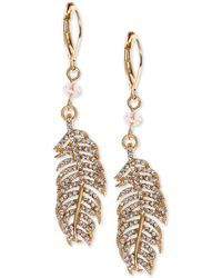 Lonna & Lilly - Gold-tone Crystal Feather Drop Earrings - Lyst
